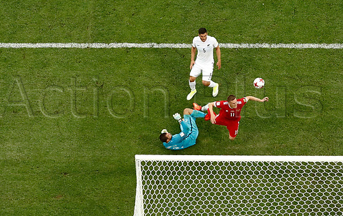 17th June 2017, St Petersburg, Russia;  FIFA 2017 Confederations Cup football, Russia versus New Zealand;  Group A - Saint Petersburg Stadium;  Russia's Aleksandr Bukharov and New Zealand's Stefan Marinovic and Mich`el Boxall in action.