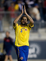 Mario Yepes (3) of Colombia salutes the crowd following an international friendly at PPL Park in Chester, PA.  The U.S. tied Columbia, 0-0.