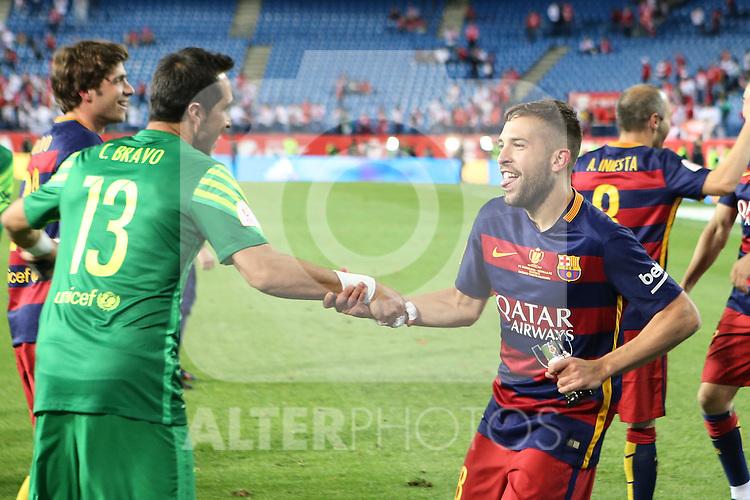 FC Barcelona's Claudio Bravo (L) and Jordi Alba  during Spanish Kings Cup Final match. May 22,2016. (ALTERPHOTOS/Rodrigo Jimenez)