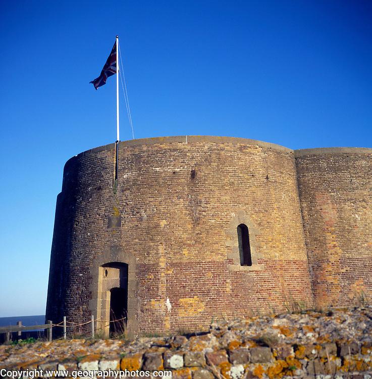Quatrefoil martello tower from the Napoleonic war, Slaughden, Aldeburgh, Suffolk, England