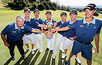 North Harbour celebrate winning the final v Auckland. Day Four of the Toro Interprovincial Men's Championship, Mangawhai Golf Course, Mangawhai,  New Zealand. Saturday 9 December 2017. Photo: Simon Watts/www.bwmedia.co.nz