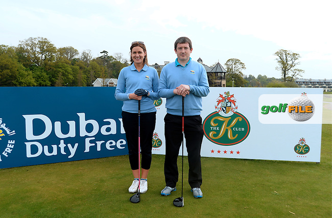 9 May 2016;  Mark Anglim and Noirin Gohery, from Galway Bay Golf Resort.  Dubai Duty Free Irish Open - All-Ireland Final for Pro-Am Qualifying Competition. The K Club Smurfit Course, Straffan, Co. Kildare, Ireland. <br /> Picture: Golffile   Caroline Quinn<br /> <br /> All photo usage must carry mandatory copyright credit (&copy; Golffile   Caroline Quinn)