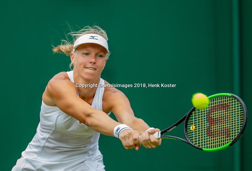 London, England, 9 th. July, 2018, Tennis,  Wimbledon, Womans single fourth round: Kiki Bertens (NED) in her match against Karolina Pliskova (CZE)<br /> Photo: Henk Koster/tennisimages.com