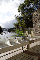 The terrace commands a panoramic view of the countryside around and the Fowey estuary beyond