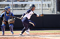DURHAM, NC - FEBRUARY 29: Leea Hanks #3 of the University of Notre Dame hits the ball during a game between Notre Dame and Duke at Duke Softball Stadium on February 29, 2020 in Durham, North Carolina.