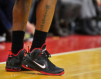 The view of Lebron's Air Jordans. Miami defeated Washington 106-89 at the Verizon Center in Washington, D.C. on Friday, February 10, 2012. Alan P. Santos/DC Sports Box