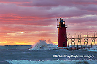 64795-02412 South Haven Lighthouse at sunset South Haven,  MI