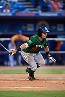 Daytona Tortugas second baseman Randy Ventura (1) follows through on a swing during a game against the St. Lucie Mets on August 3, 2018 at First Data Field in Port St. Lucie, Florida.  Daytona defeated St. Lucie 3-2.  (Mike Janes/Four Seam Images)
