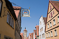 Colorful building along Klingengasse, Rothenburg ob der Tauber, Franconia, Bavaria, Germany