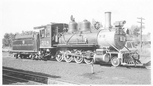 3/4 engineer's-side view of D&amp;RGW #318 in Montrose.<br /> D&amp;RGW  Montrose, CO