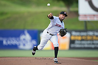 Kannapolis Intimidators starting pitcher Kelvis Valerio (22) in action against the Hagerstown Suns at Kannapolis Intimidators Stadium on June 14, 2017 in Kannapolis, North Carolina.  The Intimidators defeated the Suns 10-1 in game two of a double-header.  (Brian Westerholt/Four Seam Images)
