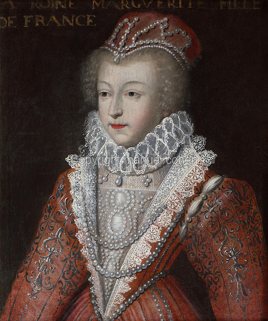 Portrait of Marguerite de France, Queen of Navarre, known as La Reine Margot, 1553-1615,<br /> oil painting on canvas, after Francois Clouet,  1515-1572, in the Garde-robe de la Reine, or Queen's Dressing Room, in the Francois I wing, built early 16th century in Italian Renaissance style and restored by Felix Duban 1861-66, at the Chateau Royal de Blois, built 13th - 17th century in Blois in the Loire Valley, Loir-et-Cher, Centre, France. The chateau has 564 rooms and 75 staircases and is listed as a historic monument and UNESCO World Heritage Site. Picture by Manuel Cohen
