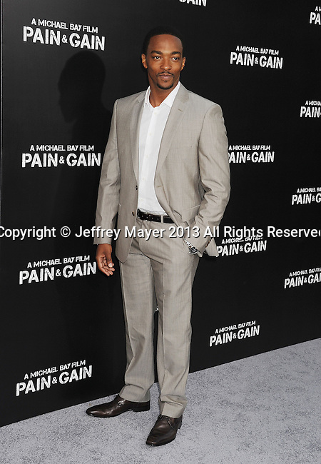 HOLLYWOOD, CA- APRIL 21: Actor Anthony Mackie attends the 'Pain & Gain' premiere held at TCL Chinese Theatre on April 22, 2013 in Hollywood, California.
