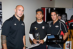 Under 16's  Player of the Year Lemu Ah Tuna with DJ Forbes & Chad Tuoro. Counties Manukau Rugby Union Junior representative prize giving held at Growers Stadium on Monday October 20th 2008.