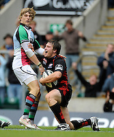 Twickenham, GREAT BRITAIN,  Saracens, Adam POWELL, celebrates, after scoring a second half try, Quins, David SETTLE stands on, during the Guinness Premiership match,  Saracens vs Harlequins, at Twickenham Stadium, Surrey on Sat 06.09.2008. [Photo, Peter Spurrier/Intersport-images]