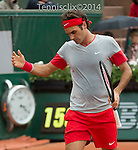 Roger Federer (SUI), defeats Diego Sebastian Schwartzman, 6-3, 6-4, 6-4 at  Roland Garros being played at Stade Roland Garros in Paris, France on May 28, 2014