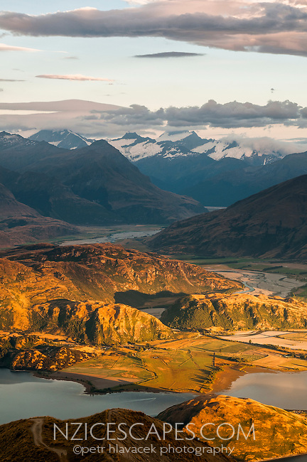 Glendhu Bay at Lake Wanaka as seen from Mt. Roy 1578m at sunrise with Mt. Aspiring in background, Central Otago, New Zealand