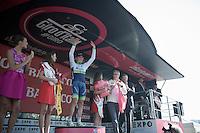 first 'magnolia rosa' of the 2015 Giro is Simon Gerrans (AUS/Orica-GreenEDGE)<br /> <br /> stage 1: San Lorenzo Al Mare - San remo (TTT/17.6km)
