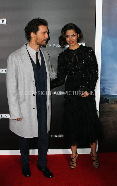 ACEPIXS.COM<br /> <br /> November 3 2014, New York City<br /> <br /> Actor Matthew McConaughey and model Camila Alves arriving at the 'Interstellar' New York premiere at AMC Lincoln Square Theater on November 3, 2014 in New York City. <br /> <br /> By Line: Nancy Rivera/ACE Pictures<br /> <br /> ACE Pictures, Inc.<br /> www.acepixs.com<br /> Email: info@acepixs.com<br /> Tel: 646 769 0430