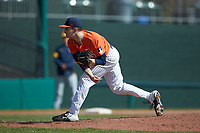 Illinois Fighting Illini relief pitcher Aidan Maldonado (41) follows through on his delivery against the West Virginia Mountaineers at TicketReturn.com Field at Pelicans Ballpark on February 23, 2020 in Myrtle Beach, South Carolina. The Fighting Illini defeated the Mountaineers 2-1.  (Brian Westerholt/Four Seam Images)