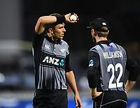 Trent Boult and Kane Williamson.<br /> New Zealand Black Caps v England.Tri-Series International Twenty20 cricket. Eden Park, Auckland, New Zealand. Sunday 18 February 2018. &copy; Copyright Photo: Andrew Cornaga / www.Photosport.nz