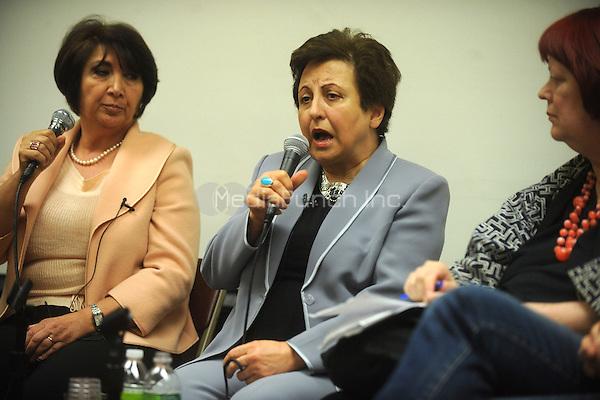 Iranian Nobel Peace Prize Laureate Shirin Ebadi discusses her memoir and human rights in Iran at The New School in New York City. April 19, 2011. Credit: Dennis Van Tine/MediaPunch