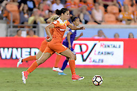 Houston, TX - Saturday June 17, 2017: Carli Lloyd brings the ball up the field during a regular season National Women's Soccer League (NWSL) match between the Houston Dash and the Orlando Pride at BBVA Compass Stadium.