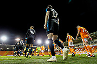 The teams take to the field<br /> <br /> Photographer Alex Dodd/CameraSport<br /> <br /> The EFL Checkatrade Trophy Northern Group C - Blackpool v West Bromwich Albion U21 - Tuesday 9th October 2018 - Bloomfield Road - Blackpool<br />  <br /> World Copyright &copy; 2018 CameraSport. All rights reserved. 43 Linden Ave. Countesthorpe. Leicester. England. LE8 5PG - Tel: +44 (0) 116 277 4147 - admin@camerasport.com - www.camerasport.com