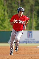 Potomac Nationals infielder Stephen Perez (4) running the bases during a game against the Myrtle Beach Pelicans at Ticketreturn.com Field at Pelicans Ballpark on May 22, 2015 in Myrtle Beach, South Carolina.  Myrtle Beach defeated Potomac 8-4. (Robert Gurganus/Four Seam Images)