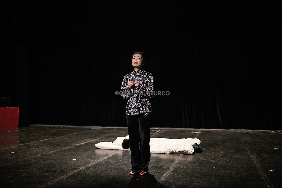 Chines actor student during a workshop at the Beijing Film Accademy, the most prestigious Movie Accademy in Asia, September 2014