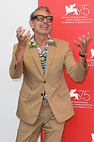 VENICE, ITALY - AUGUST 29: American actor Jeff Goldblum attends the 75th Venice Film Festival photocall for The Mountain at Sala Casino on August 30, 2018 in Venice, Italy.<br /> CAP/BEL<br /> &copy;BEL/Capital Pictures