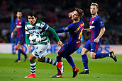 5th December 2017, Camp Nou, Barcelona, Spain; UEFA Champions League football, FC Barcelona versus Sporting Lisbon; Denis Suarez of FC Barcelona sees the ball put out of play by Sportings Acuña