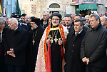 Archbishop Mor Dionysius Isa Gurbuz attends the Christmas mass celebrations at the Church of the Nativity, in the West Bank town of Bethlehem, 06 January 2019. The Church of the Nativity, built on the site where Jesus Christ is believed to have been born in the West Bank city of Bethlehem, is administered jointly by Greek Orthodox, Roman Catholic, Armenian Apostolic, and Syriac Orthodox church. Orthodox believers celebrate Christmas Day on 07 January, according to the Julian calendar. Photo by Ahmad Arouri