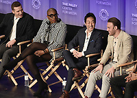 "HOLLYWOOD, CA - MARCH 17:  Oliver Stack, Aisha Hinds, Kenneth Choi and Ryan Guzman at PaleyFest 2019 - Fox's ""9-1-1"" panel at the Dolby Theatre on March 17, 2019 in Hollywood, California. (Photo by Scott Kirkland/Fox/PictureGroup)"