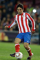 19.04.2012 MADRID, SPAIN - UEFA Europa League 11/12 Semi Finals match played between At. Madrid vs Valencia (4-2) at Vicente Calderon stadium. the picture show Arda Turan (Turkish midfielder of At. Madrid)