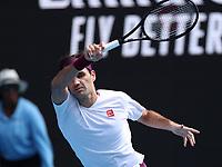 28th January 2020; Melbourne Park, Melbourne, Victoria, Australia; Australian Open Tennis, Day 9; Roger Federer of Switzerland during his match against Tennys Sandgren of USA