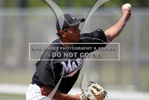 March 19, 2010:  Pitcher Anillins Martinez (17) of the Florida Marlins organization during Spring Training at the Roger Dean Stadium Complex in Jupiter, FL.  Photo By Mike Janes/Four Seam Images