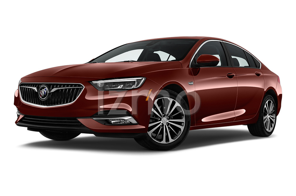 Stock pictures of low aggressive front three quarter view of a 2019 Buick Regal-Sportback Essence 5 Door Hatchback