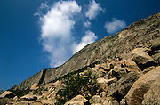 Looking up at Cannon Cliff, which is on the side of Cannon Mountain in Franconia Notch State Park of the New Hampshire White Mountains.