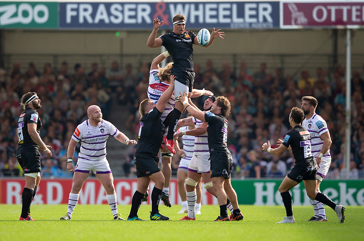 Exeter Chiefs' Sam Skinner claims a line out<br /> <br /> Photographer Bob Bradford/CameraSport<br /> <br /> Gallagher Premiership - Exeter Chiefs v Leicester Tigers - Saturday September 1st 2018 - Sandy Park - Exeter <br /> <br /> World Copyright © 2018 CameraSport. All rights reserved. 43 Linden Ave. Countesthorpe. Leicester. England. LE8 5PG - Tel: +44 (0) 116 277 4147 - admin@camerasport.com - www.camerasport.com