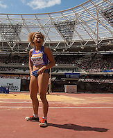 Jazmin Sawyers of GBR (Women's Long Jump) after a great jump during the Long Jump during the Sainsbury's Anniversary Games, Athletics event at the Olympic Park, London, England on 25 July 2015. Photo by Andy Rowland.