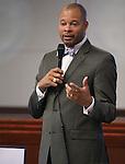 Nevada Sen. Aaron Ford, D-Las Vegas, speaks on the Senate floor at the Legislative Building in Carson City, Nev., on Monday, April 22, 2013. .Photo by Cathleen Allison