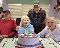 Photo Submitted Ms. Ruth Eberley celebrated her 103rd birthday on May 13, 2019, at the McDonald County Living Center with her children, (from left), son Phillip, Ruth,  and daughter Lavilla with son Wayne in the back.