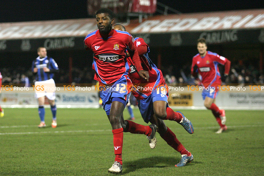 Medy Elito of Dagenham celebrates scoring the winning goal - Dagenham and Redbridge vs Rochdale at the London Borough of Barking and Dagenham Stadium - 12/01/13 - MANDATORY CREDIT: Dave Simpson/TGSPHOTO - Self billing applies where appropriate - 0845 094 6026 - contact@tgsphoto.co.uk - NO UNPAID USE.