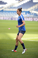 Kansas City, Kansas - Saturday April 16, 2016: FC Kansas City midfielder Yael Averbuch (10) warms up before the game against Western New York Flash at Children's Mercy Park. Western New York won 1-0.