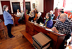 SOUTHBURY CT. 16 March 2018-031919SV01-Melissa Elliott, left, explains how to be a docent during a workshop  at the historic Bullet Hill School house in Southbury Tuesday.<br /> Steven Valenti Republican-American