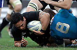 Rugby: test match Italia vs Nuova Zelanda. Roma, stadio Olimpico, 17 novembre 2012..New Zealand's Hosea Gear, left, is tackled by Italy's captain Sergio Parisse during an international rugby test match between Italy and New Zealand at Rome's Olympic stadium, 17 November 2012..UPDATE IMAGES PRESS/Riccardo De Luca