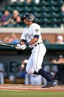 Lakeland Flying Tigers shortstop Dixon Machado (1) during a game against the Tampa Yankees on April 5, 2014 at Joker Marchant Stadium in Lakeland, Florida.  Lakeland defeated Tampa 3-0.  (Mike Janes/Four Seam Images)