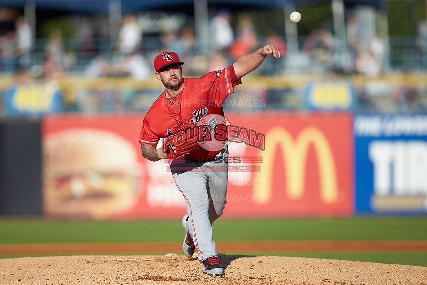 Louisville Bats starting pitcher Brandon Finnegan (38) delivers a pitch to the plate against the Toledo Mud Hens at Fifth Third Field on June 16, 2018 in Toledo, Ohio. The Mud Hens defeated the Bats 7-4.  (Brian Westerholt/Four Seam Images)
