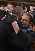 US President Barak Obama embraces US Supreme Court Justice Ruth Bader Ginsburg before his State Of The Union address on January 20, 2015 at the US Capitol in Washington, DC. <br /> Credit: Mandel Ngan / Pool via CNP